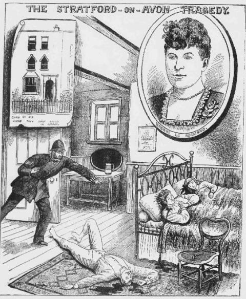 Illustration of the murder scene with an inset image of the murdered woman