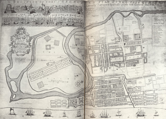 A prospect of Fort St. George and Plan of the City of Madras