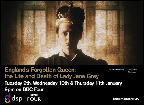 An advertisement for the documentary 'England's Forgotten Queen: the Life and Death of Lady Jane Grey', showing the young queen wearing a crown.