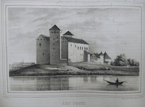 View of Åbo Castle with a boat in the foreground