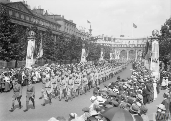 Indian Contingent (Sikhs) passing along the Mall 1919