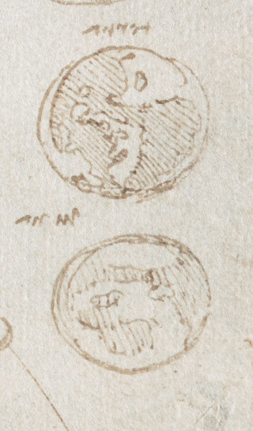 A detail from one of the notebooks of Leonardo da Vinci, showing pencil sketches of the Earth and the Moon.