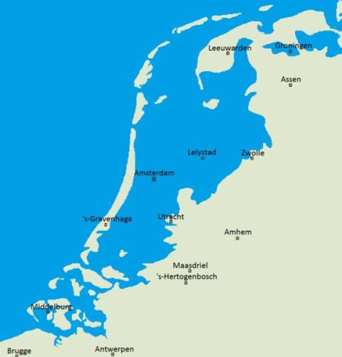 Outline map showing the Netherlands compared to sea level