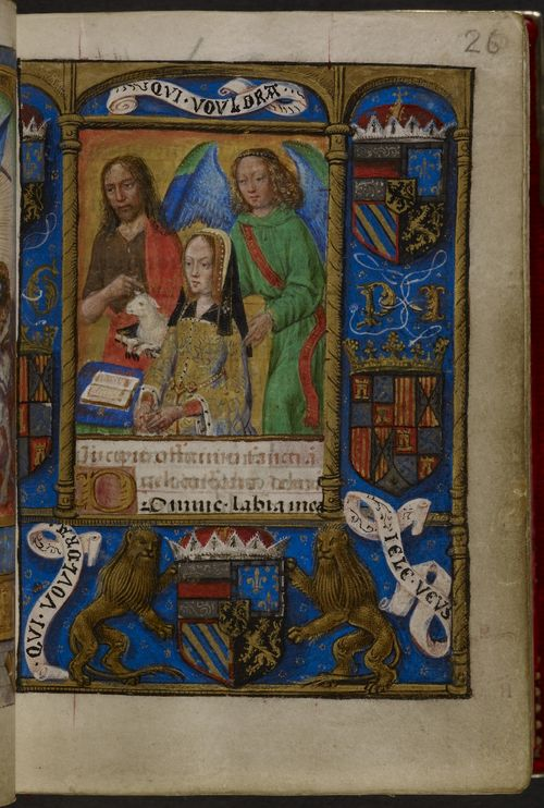 A page from the Book of Hours of Joanna of Castile, showing a portrait of Joanna alongside St John the Baptist and a guardian angel, with a decorated border containing heraldic arms.