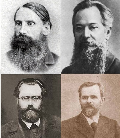 Photographs of V.V. Bervi-Flerovsky, Nikolai Danielson, German Lopatin and Vasily Vorontsov