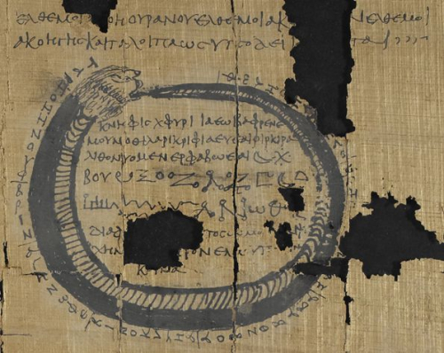 A detail from a 3rd-century papyrus, showing an illustration of a serpent biting its tail, surrounding an inscription.