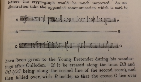 Sample musical cryptograph from Ball's book