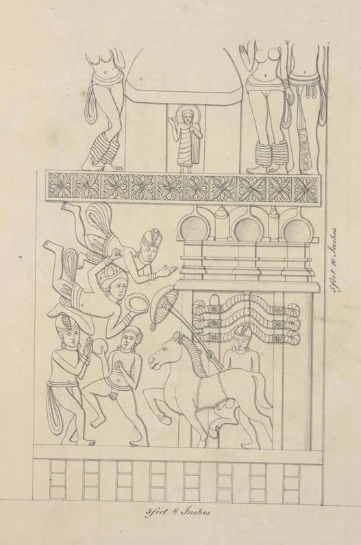 Horse walking through gate - drawing taken during the 1816/17 excavation.