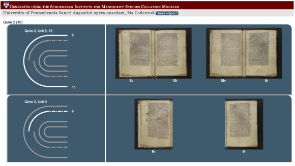 A image capture of a page from the University of Pensylvania, of a program called VisColl. The image, with a muted blue background, shows four images of a digitised manuscript, with a section on the left hand side showing the structure of the book and the pages digitised, in white.
