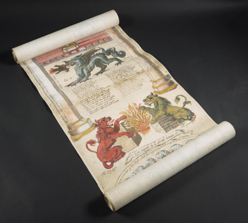 A section of the unfurled Ripley Scroll, showing illustrations of dragons and fantastical beasts.