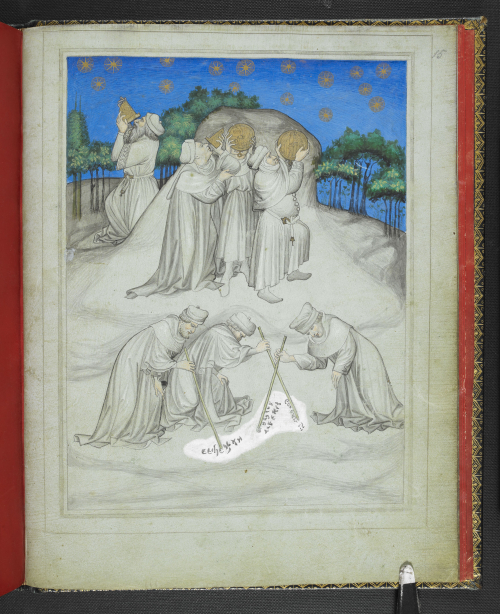A page from a 15th-century manuscript of the Travels of John Mandeville, showing an illustration of astronomers on Mount Athos, studying the stars with astrolabes and quadrants.