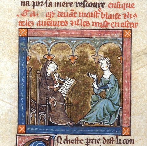 Mediaeval miniature painting of Merlin and Blaise