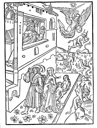 Woodcut illustration showing Ovid, the Fallen angels, Deucalion and Pyrrha