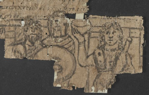 A detail from a 6th-century papyrus, showing an illustration of a girl serving drinks at a table.