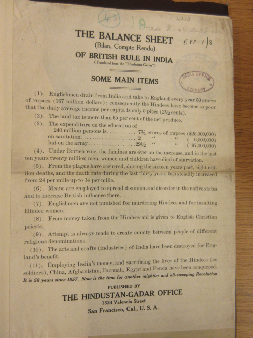 LEaflet, The Balance Sheet of British Rule in India