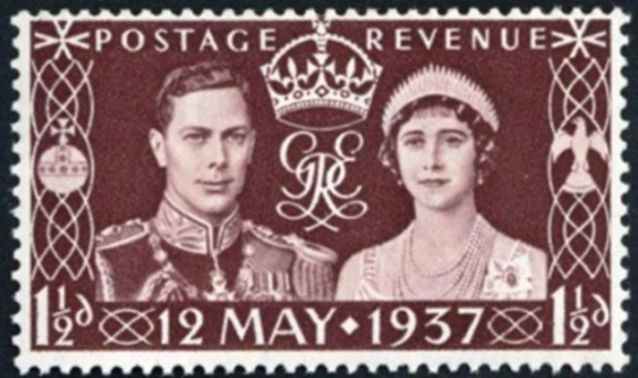 1937 Coronation of king George VI Issue British  1½ penny stamp