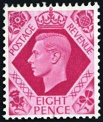 British George VI definitive issue 8 penny stamp