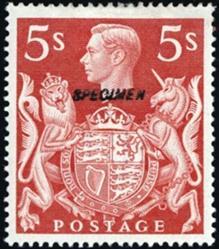 British George VI  5 shilling stamp overstamped specimen