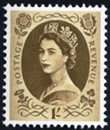 1952 Elizabeth II Definitive Issue 1 shilling stamp