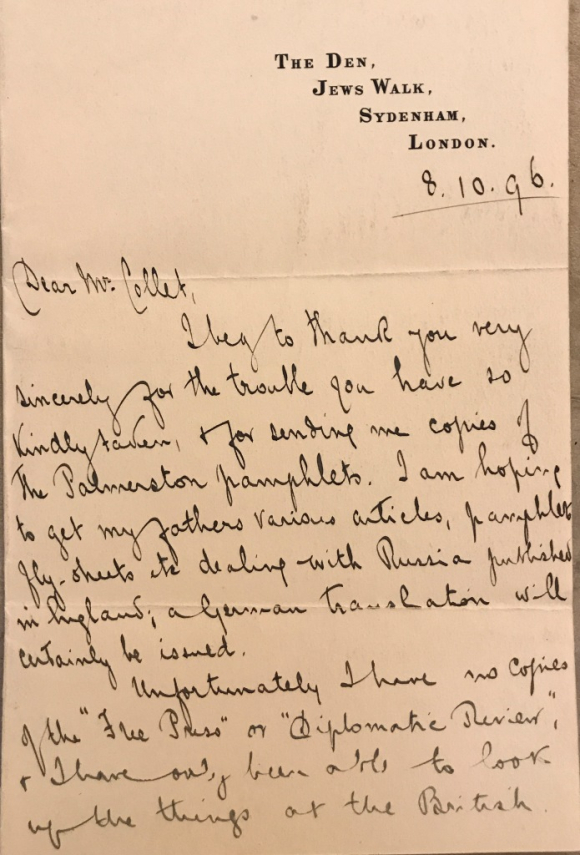 Page of letter from Eleanor Marx to Collet Dobson Collet