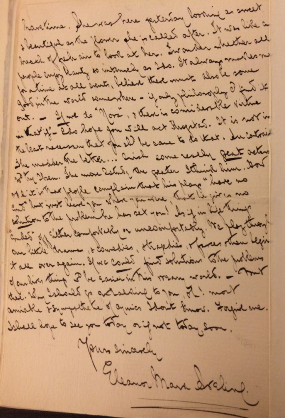 Page of letter from Eleanor Marx to George Bernard Shaw