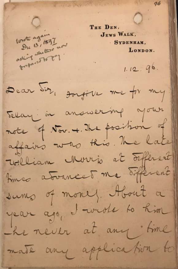 Page of letter from Edward Aveling to William Morris's agent