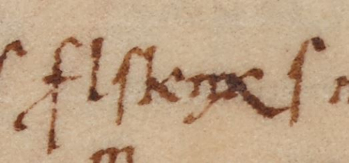 A detail from a medieval manuscript, showing the name of the scribe written in code.