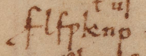 A detail from a medieval manuscript, showing the name of the manuscript's owner written in code.