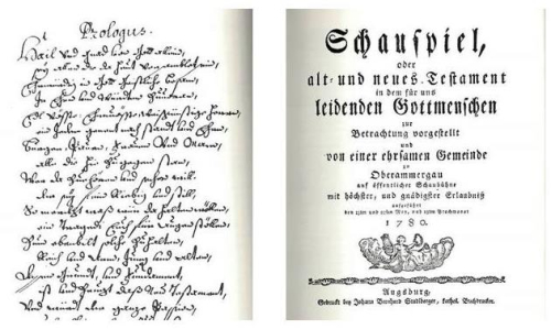Facsimiles of an early script of and programme for the Oberammergau Passion Play