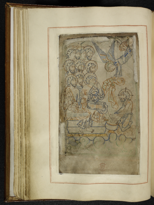 A page from the Tiberius Psalter, showing an illustration of Christ washing the feet of his disciples on Maundy Thursday.