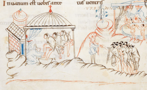 A detail from the Harley Psalter, showing an illustration of a monk washing the feet of three poor men, while a crowned figure distributes alms.