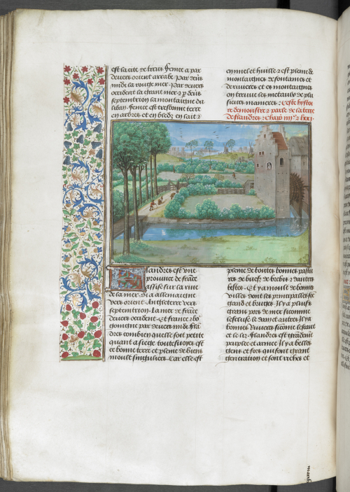 A page from a manuscript of the Trésor des Histoires, showing an illustration of a view of Flanders.