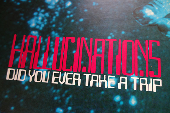 Detail of 'Hallucinations' poster showing title text