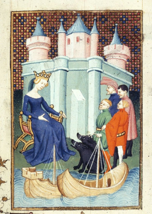 A detail from a manuscript of the works of Christine de Pizan, showing an illustration of Circe and the herd of men she has transformed into beasts.