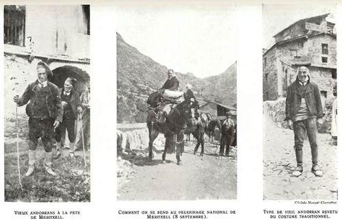 Andorran peasant men in traditional costumes