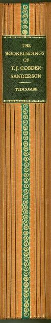 The spine in a tan-orange leather, with horizontal lines and a larger dark green horizontal stripe down the center. This strip has geometric designs in down it.
