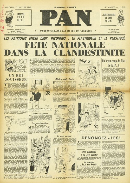 Front page of the French-language newspaper 'Pan' with cartoons of Flemish nationalists