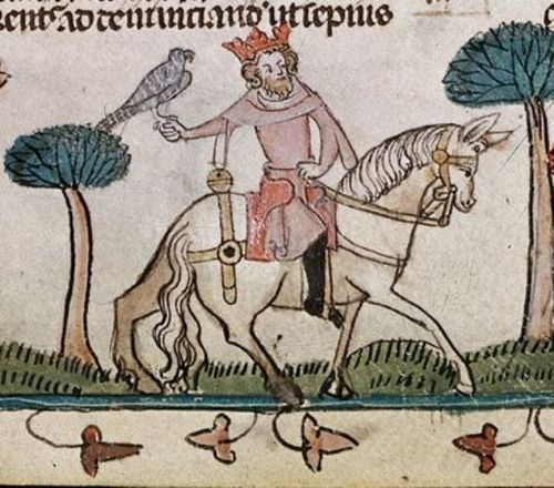 Illustration of a knight on horseback with a hawk in his hand