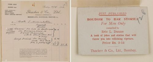 Invoice and advertising card from Thacker and Company