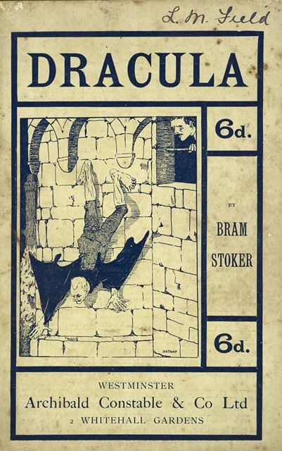 Cover of a 1901 edition of 'Dracula' with a picture of Count Dracula crawling down the wall of his castle
