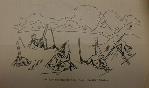 Cartoon showing skiing learners getting stuck in the snow