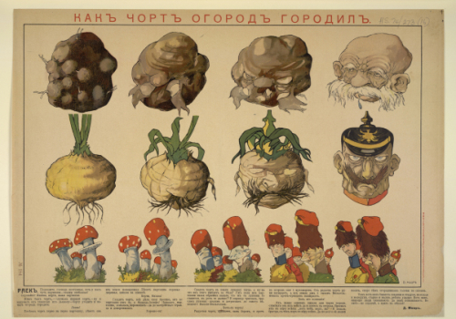 Caricature showing vegetables and fungi morphing into the Austrian and German emperors and their armies