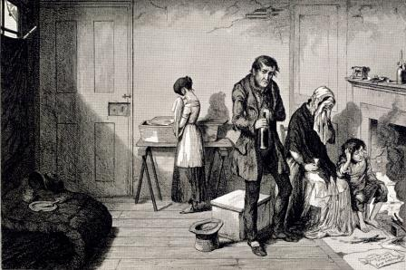 Poor family - illustration from The Bottle, and the Drunkard's Children