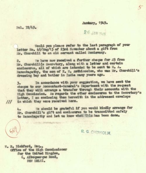Letter to British High Commissioner about Churchill's gifts