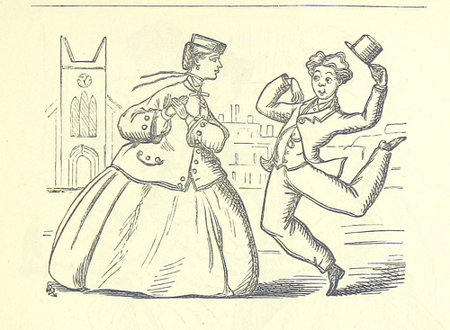 Young man leaping towards a young woman