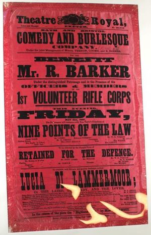 The playbill in pink silk, advertising a Comedy and Burlesque Company show at the Theatre Royal called Mr. R. Barker.