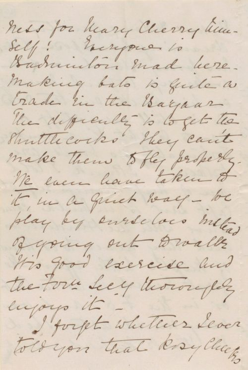 Beatrice Aitchison's letter to Lewis Pelly