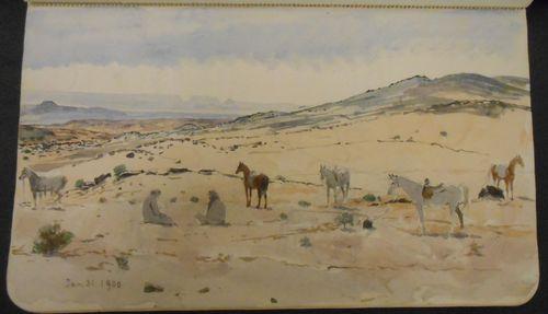 Watercolour of desert scene by Anne Blunt