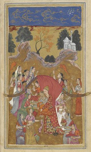 Shahi lifts Mahji into the bridal palanquin. Hand A, Bijapur 1591. British Library, Add. 16880, f.213v.