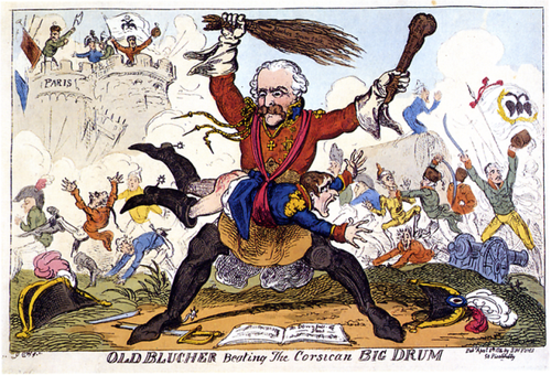 Caricature showing Blücher beating Napoleon